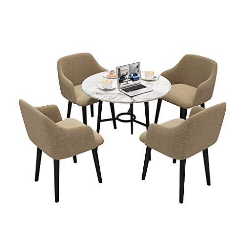 Combination chair Retro Lounge Chairs,Marble Small Round Table Rest Area Balcony Reception Negotiate Tables dnd Chairs Combination (Color : Khaki)