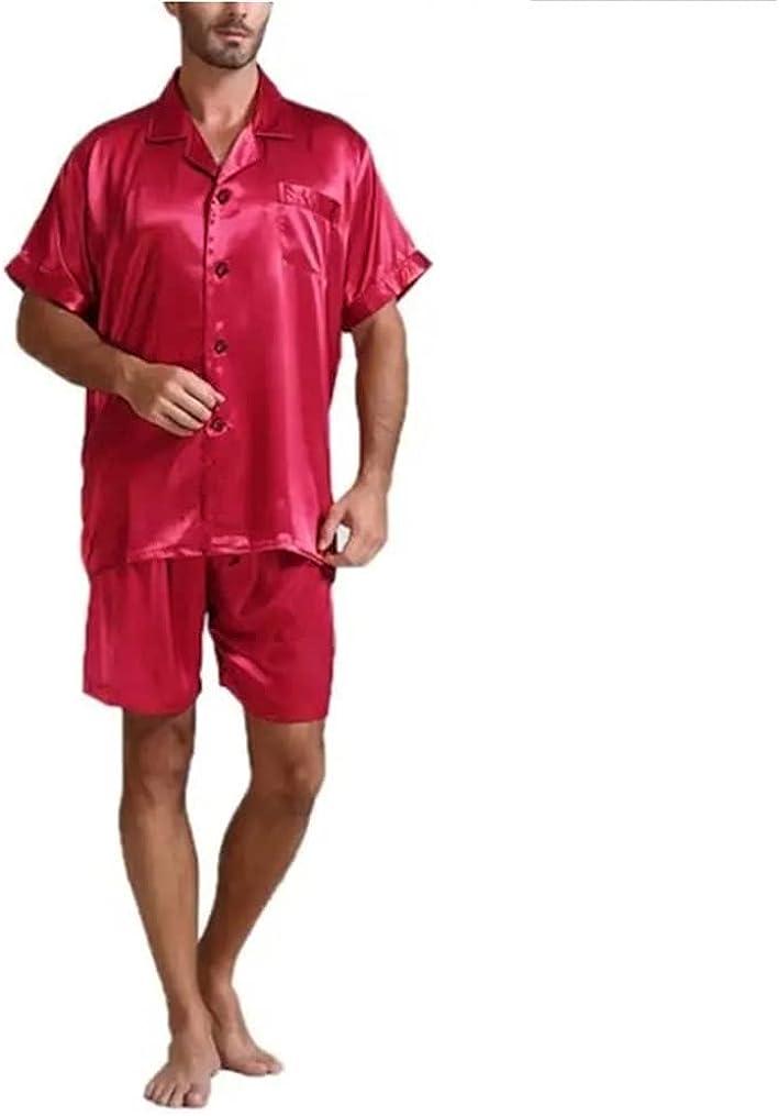 Men's Pajamas Set Short Sleeve Button Down Sleepwear Classic Top & Bottom PJs