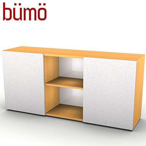 Hammerbacher kantoor dressoir met schuifdeuren | kantoorkast met opbergruimte voor mappen, boeken en materiaal | archiefkast in 5 kleuren Buche/Silber