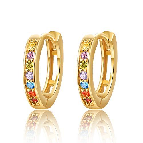 Hoop Earrings for Women 925 Sterling Silver Gold Huggie Hinged Earrings Hypoallergenic Small Sleeper Earrings with AAA Cubic Zirconia for Women Ladies Her Girls