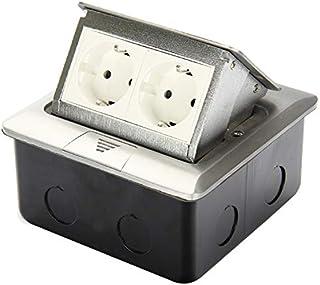 Funey 2-voudig inbouwstopcontact, 2 stopcontacten, inschuifbaar stopcontact, vloerstopcontact, voor vloer, tafel, kantoor,...