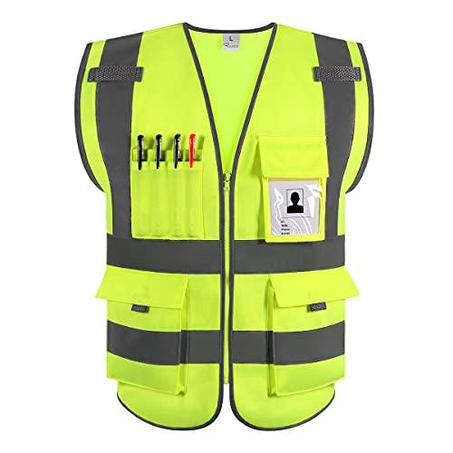 RYACO Chaleco reflectante, chaleco de seguridad ANSI clase 2 de alta visibilidad con tiras reflectantes, 9 bolsillos y cremallera frontal, normas ANSI / ISEA (L)