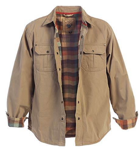 Gioberti Men's Brushed and Soft Twill Shirt Jacket with Flannel Lining, Khaki, XL