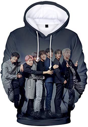 OLIPHEE Damen BTS 3D gedruckt Kapuzenpullover Suga Jimin Jin Jung Kook J-Hope Rap Monster V Fans Hoodie E1034 XL