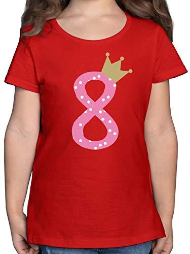 Geburtstag Kind - 8. Geburtstag Krone Mädchen Achter - 128 (7/8 Jahre) - Rot - Shirt 8 Jahre mädchen - F131K - Mädchen Kinder T-Shirt