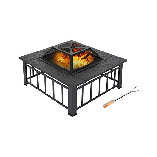Fire Pit, 32'' Fire Pits Outdoor Wood Burning Steel BBQ Grill Firepit Bowl with Mesh Spark Screen Cover Log Wood Fire Poker for Camping Bonfire Patio Backyard Garden Beaches Park (32x 32x12.6')
