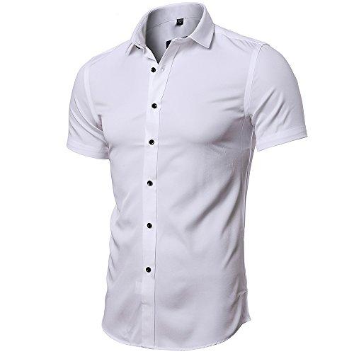 INFLATION Herren Hemd aus Bambusfaser umweltfreudlich Elastisch Slim Fit für Freizeit Business Hochzeit Reine Farbe Hemd Kurzarm Herren-Hemd Weiß DE XL (Etikette 43)