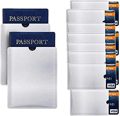 Anti-mobile phone degaussing card holder,RFID Sleeves For Credit Cards,Credit card holder for 10 cards With 2PCS Rid blocking passport Holder Sleeve Credit Card Protector Sleeves Anti Theft Card Protector