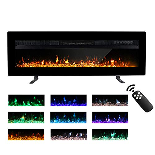 M.C.Haus Electric Fireplace Insert Wall Mounted Freestanding Heater Metal Panel Heater Colorful Flame Remote Control with Crystal, 900W/1800W (102CM, Black)