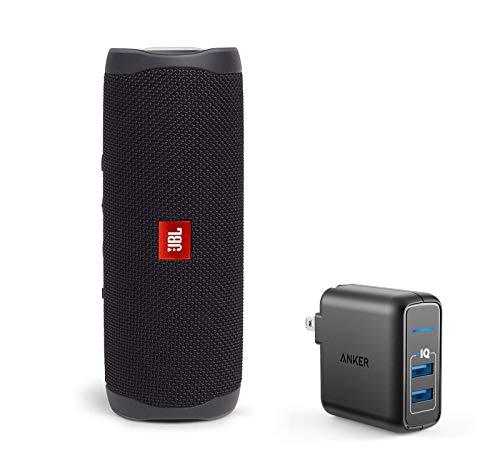 JBL Flip 5 Waterproof Portable Wireless Bluetooth Speaker Bundle with 2-Port USB Wall Charger - Black