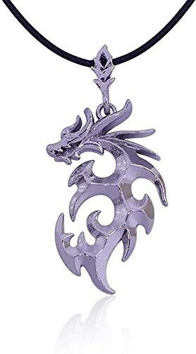 CXYCXY Co.,ltd Collar Moda Joyería de Moda Brave Man Flame Dragon Collar dominante Hombres S Collares Pendientes - Plateado