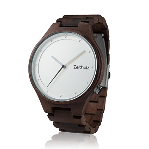 Zeitholz Herren-Holzuhr analog mit Walnussholz-Armband Modell Stolpen weiß