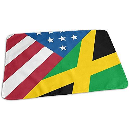 Wickelauflage,Tragbare Wickelauflagen Der Amerikanischen Jamaikanischen Flagge Für Kinder Spielen Kinderwagen 65x80cm