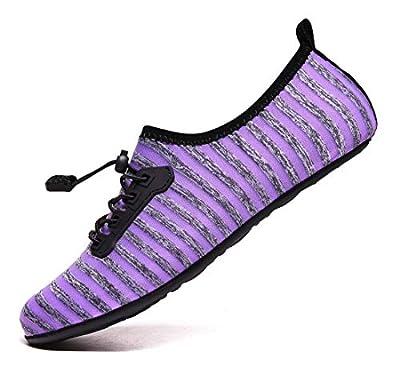 VanciLin Women's Men's Water Shoes Barefoot Quick-Dry Swim Socks, 021purple, 6-7 Women/4.5-5.5 Men