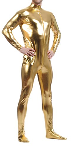 Seeksmile Unisex Metallic Lycra Bodysuit Zentai without Hood (Large, Gold)