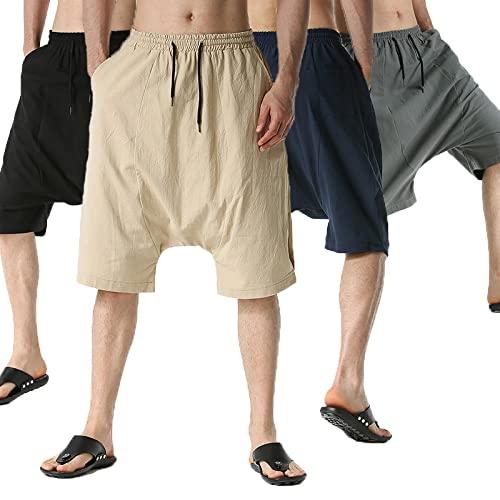 Pantalones Cortos Casuales Sueltos Moda de Verano Finos para Hombres Pantalones cómodos Sueltos para Hombres Pantalones Cortos hasta la Rodilla-Black_XL