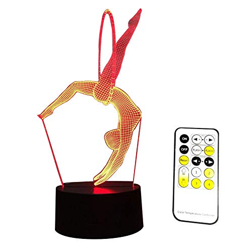 Izzya Modèle De Gymnaste Trois Dimensions Esthétique LED Lampe De Bureau Cadeau De Noël- Dégradés À Sept Couleurs Touch Switch + Télécommande- USB Power + Alimentation De La Batterie