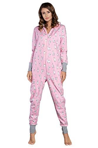 Italian Fashion IF Damen Schlafanzug aus Baumwolle, Pijama Onesie schönes Jumpsuit Long Sleeve Bodysuit mit Kapuze   Nachtwäsche oder Hausanzug...