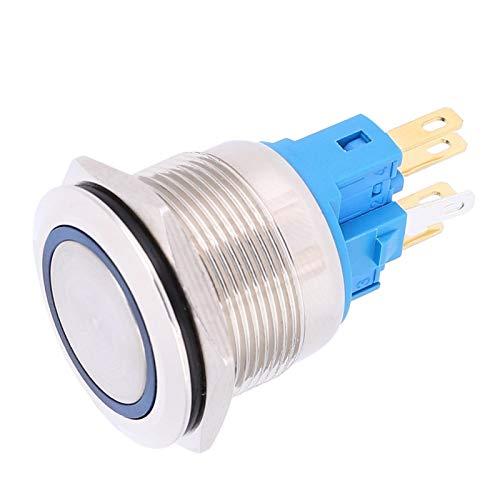 Demeras Botón de reinicio de Anillo DC12-24V Accesorios de Interruptor de botón pulsador de 6 Pines de 22 mm con Material de Acero Inoxidable(Blue, Pisa Leaning Tower Type)
