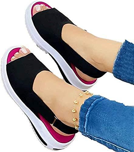 QAZW Cómodas Sandalias Deportivas de Punto para Mujer,Gradación Fondo Grueso Boca de Pez Playa Casual, Zapatos Casuales de Las Señoras Sandalias de Interior Al Aire Libre,Black-37
