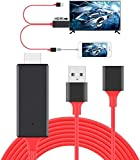 HDMI Cables Adapter USB to HDTV Cable, Wire Dongle USB Male + USB Female to HDMI Male 1080P HDTV Mirroring Cable Compatible with iPhone/iPad/S9/S8/Note 8 and More Steaming Sharing (Red)