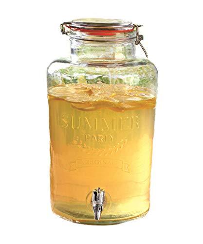 XXL Getränke Spender mit Zapfhahn und Bügelverschluss - 5 Liter - Glas Behälter Saftspender Dispenser (5 Liter)