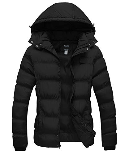 Wantdo Womens Winter Insulated Puffer Jacket with Removable Hood Black Medium