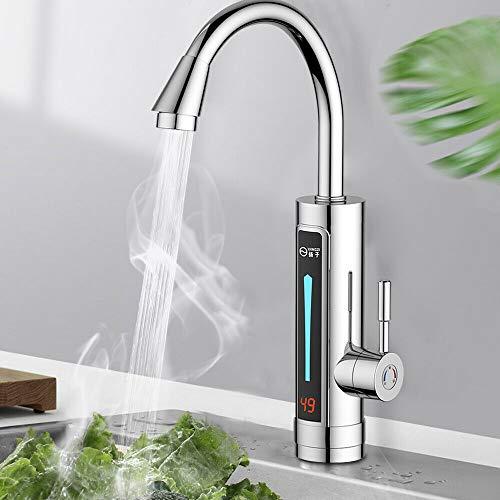 Elektrischer Wasserhahn, 3300W 220V Küche Durchlauferhitzer Beheizbarer Wasserhahn mit Integriertem Durchlauferhitzer, 360° Drehhahn Wasserhahn mit Temperaturanzeige