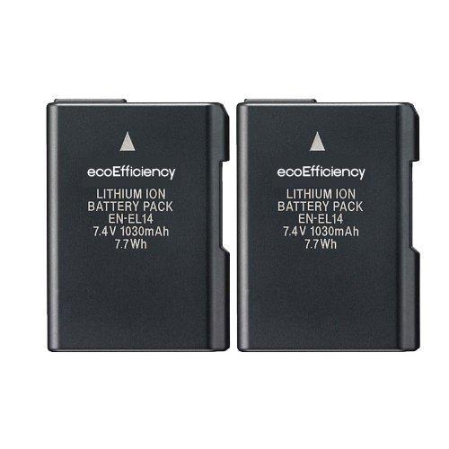 ecoEfficiency 2-Pack of EN-EL14, EN-EL14A Batteries for Nikon D3500, D3100,...