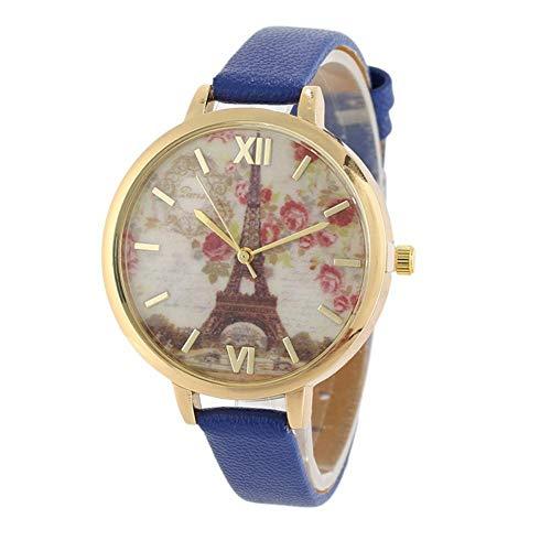 Jingyuu Reloj Mujer de Torre de Hierro Esfera Grande Relojs de Piel...
