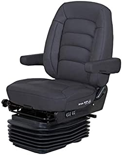 Bostrom Wide Ride II Low Base Mid-Back Seat With Armrests - Black Ultra-Leather
