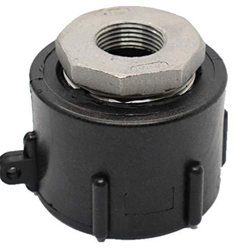 Ontracker Conector de válvula de tanque IBC para manguera de conexión de plástico de 60 mm con rosca gruesa universal