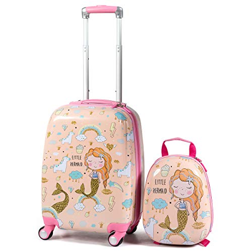 """GYMAX 2Pc Kid Carry On Luggage Set, 12"""" & 18"""" Kids Suitcase with 4 Spinner Wheels, Travel Rolling Trolley for Boys and Girls, Gift for Toddlers Children (Mermaid)"""