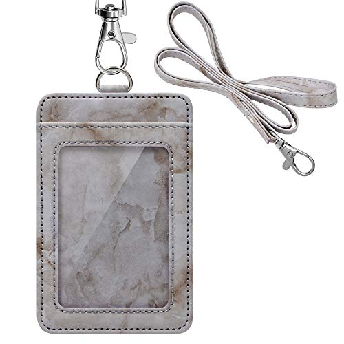 Marble Pattern Badge Holder, Life-Mate ID Badge Holder in PU Leather with 1 Clear ID Window 1 Credit Card Slot and PU Leather Lanyard for Badge Credit Cards College ID Cards in Gray Marbling