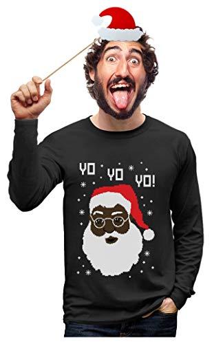 Yo Yo Yo Black Santa Ugly Christmas Sweater Long Sleeve T-Shirt X-Large Black
