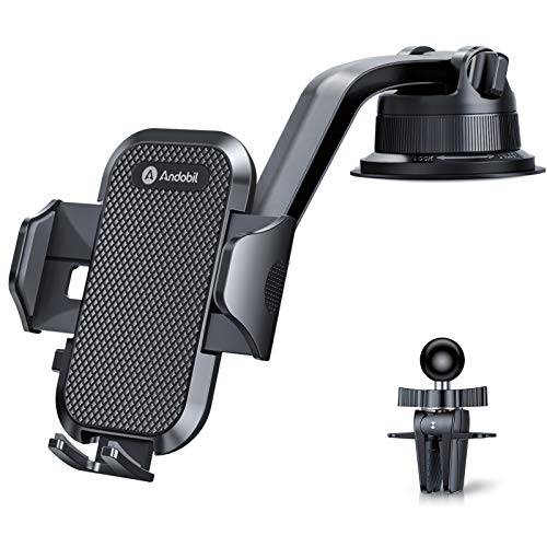 Andobil Car Phone Mount Dashboard Phone Car Holder Anti-Shake Windshield Air Vent Dash Strong Suction Cell Phone Car Mount Compatible with iPhone 12 Pro SE 11 XR XS Max 8 Plus Galaxy S20+ S9 Note 10
