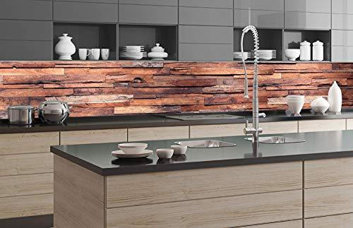 DIMEX LINE Küchenrückwand Folie selbstklebend HOLZWAND 350 x 60 cm | Klebefolie - Dekofolie - Spritzschutz für Küche | Premium QUALITÄT