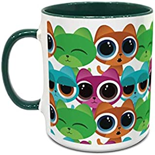 IMPRESS White and Green Ceramic Coffee Mug with Cartoon Cats Design