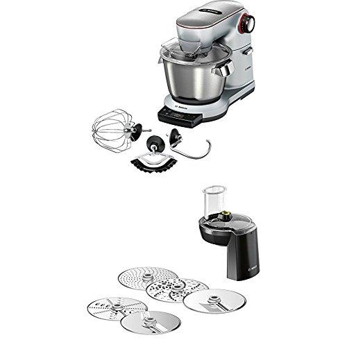 Bosch MUM9AX5S00 Optimum Küchenmaschine (1500 Watt, mit integrierter Waage, SensorControl Plus, 5,5 Liter, Edelstahl-Rührschüssel) platinum silber + MUZ9VL1 Lifestyle Set VeggieLove OptiMUM