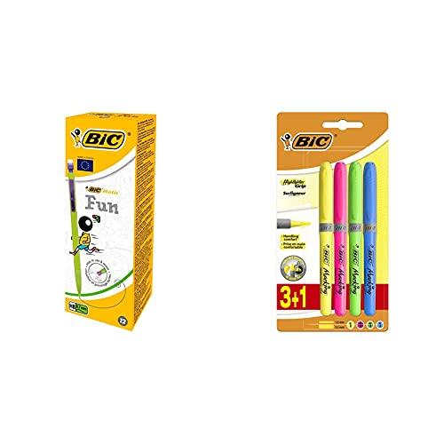 BIC Matic Fun Caja de 12 portaminas con mina HB de 0.7 mm + Highlighter Grip Subrayadores Fluorescentes de Punta Biselada, Óptimo para...