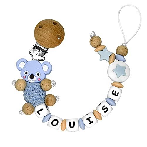 RUBY - Chupetero Personalizado Para Bebe Cadena Chupete con Nombre Bola Silicona Antibacteriana con Pinza de Madera, Chupetero de Koala de Crochet (Azul pastel)