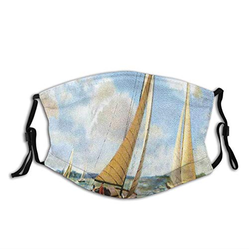 Women Men Multifunctional Half Face Bandana Reusable 3D Print Breathable Dust Protective Face Covering,Sailing In Wavy Windy Sea Vintage Painting Style Picture Ocean Hobbies Artwork