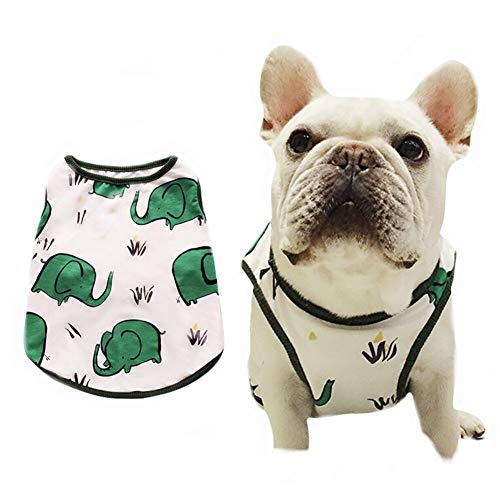 Stock Show Pet Dog Summer Vest, Cute Teddy French Bulldog Dog 100% Cotton Fashion T-Shirt Breathable Sleeveless Summer Dog Clothes for Small Medium Dog (Back Lenght - 29CM/11.4', Elephant in Green)