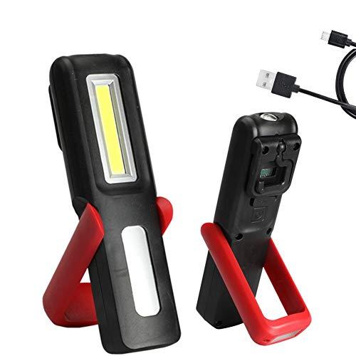 VABOO Linterna Taller LED Recargable, Luz de Trabajo COB LED Lámpara de Inspección Dual Luz Modo, LED Portátil Lampara de Trabajo con Base Magnética y Gancho para Taller Cámping Emergencia