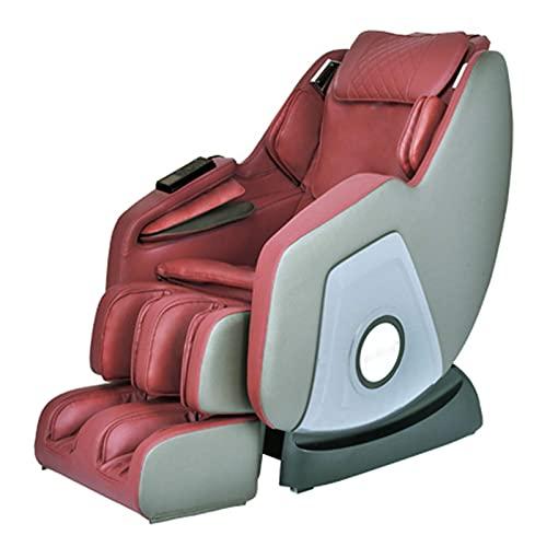 Sillón reclinable de masaje con gravedad cero, cuerpo completo de lujo de lujo con sillas de masaje eléctrico de cuerpo completo, bluetooth, calor y rodillo de pie incluido, negro ( Color : Red )