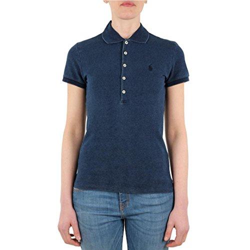 Polo Ralph Lauren Damen Julie Polo-Skinny-Short Sleeve-Knit Poloshirt, Blau (Dark Indigo 1222), Large