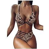 Bikini Maillot De Bain Femme 2 Pieces Triangle Sexy String A Ficelle Tankini À Lacets Chic Imprimé Leopard Swimwear Été Plage Piscine Pas Cher A La Mode