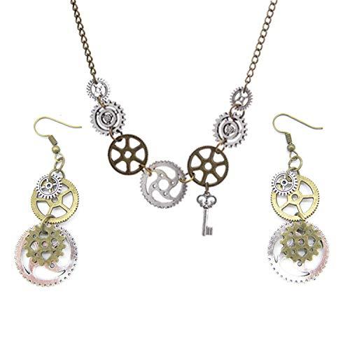 PPX 3 Stück Halskette und Ohrschmuck Retro Steampunk Uhrenteile Borduhrgänge Rädchen Ohrringe Antike Bronze