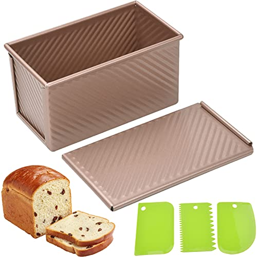 Pullman Loaf Pan with Lid, Non-Stick Loaf Pans for Baking Bread, Aluminum Alloy Baking Bread Toast Mold with Dough Scraper Cutter