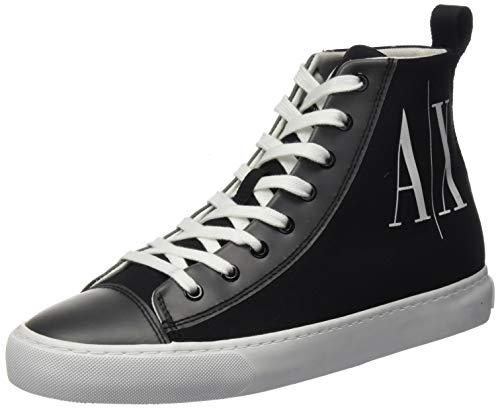 Armani Exchange High Top Cotton Sneakers, Zapatillas Altas Mujer, Negro (Black+White Logo 00002), 37 EU